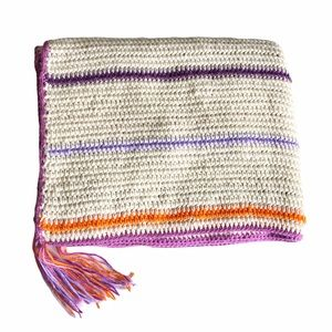 Handmade Crochet Knit Blanket Cream Purple Tassels